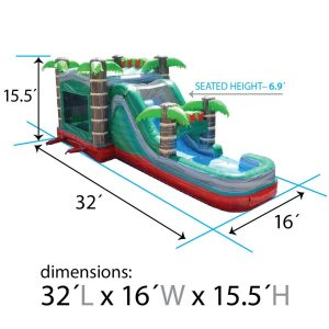 Dimensions of Mega Tropical Fire Combo Inflatable